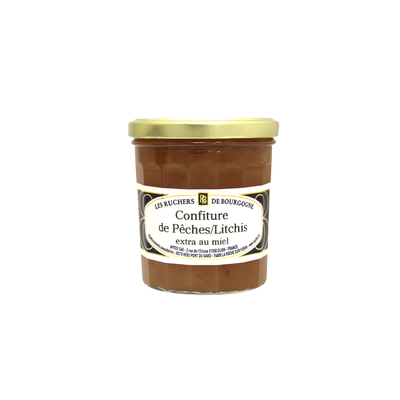 Confiture pêches litchis au miel RUCHERS DE BOURGOGNE, 375g