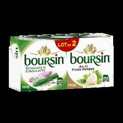 Fromage pasteurisé ail et fines herbes et échalotes ciboulette BOURSIN, 39%mg, 2x150g