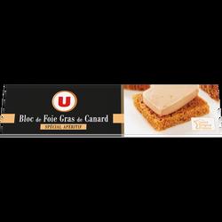 Bloc de foie gras de canard MARQUE U, barquette de 100g