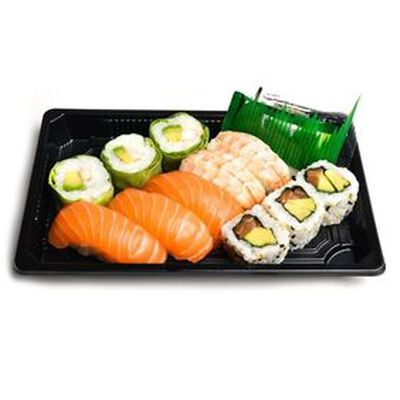 MELI MELO 11 pièces: 3 california saumon, 3 verde crevette, 3 sushi saumon, 2 sushi crevette