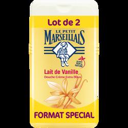 Gel douche extra doux parfum lait de vanille LE PETIT MARSEILLAIS, 2 flacons de 250ml
