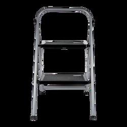Marche pied 2 niveau pliable noir pieds métaliques anti dérapants-65,8x47,8cm-dimension des marches 20x30cm-chargemaximale 150kg-avec crochet de sécurité