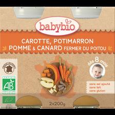 Pot carotte potimarron pomme canard BABYBIO, dès 8 mois, 2x200g