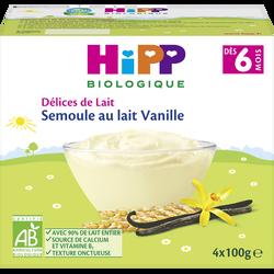Semoule au lait vanille dès 6 mois BIO HIPP, 4 coupelles de 100g