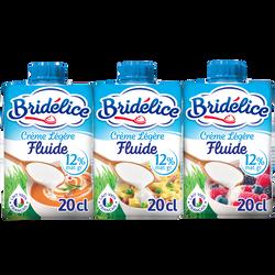 Crème légère fluide  12% de matière grasse UHT BRIDELICE, 3 briques de20cl