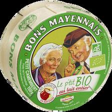 Camembert Le P'tit Bio lait entier BONS MAYENNAIS, 27% de MG, 150g