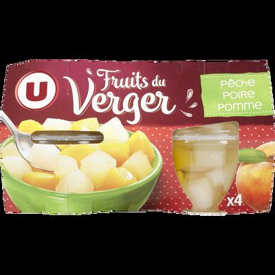 Coupelles fruits du verger à la poires, pêches et pommes U, 4 pots soit 260g