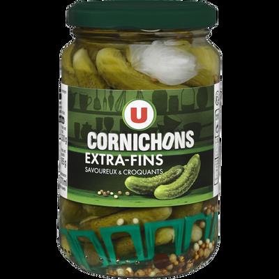 Cornichons extra-fins au vinaigre U, bocal de 185g