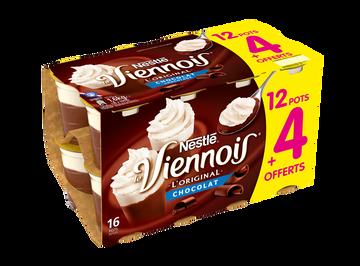 Nestlé Dessert Lacté Goût Chocolat Nestlé Le Viennois, 12x100g + 4 Offerts