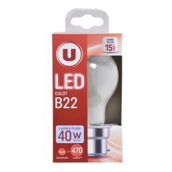 Led U, ronde, 40w, b22, opaque, lumière froide