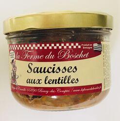 Saucisses aux lentilles, LA FERME DU BOSCHET, bocal 380g