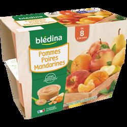 Coupelle de fruits pomme poire et mandarine BLEDINA, dès 8 mois, 4x100g