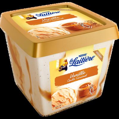 Crème glacée à la vanille et coulis au caramel LA LAITIERE, bac de 430g
