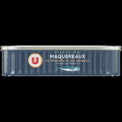 Filets maquereaux au Muscadet et aux aromates U, boîte de 1/6, 120g