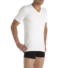 TEE SHIRT UNI COL V MANCHES COURTES HOMME