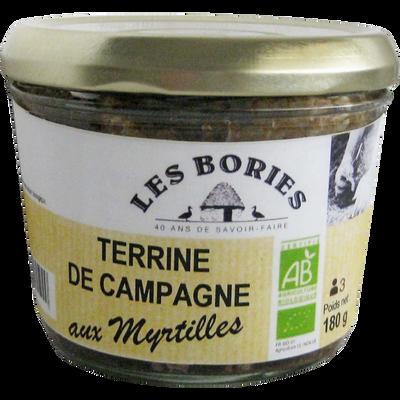Terrine de campagne aux myrtilles BIO LES BORIES, 180g