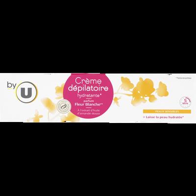 Crème dépilatoire pour peaux sensibles senteur fleur blanche BY U, tube de 200ml