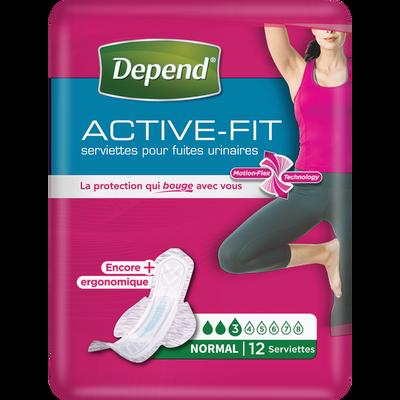 Serviettes femme active-fit normal DEPEND, paquet de 12
