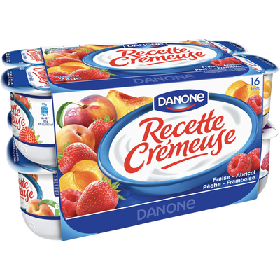Yaourt aux fruits RECETTE CREMEUSE DANONE, 16x125g