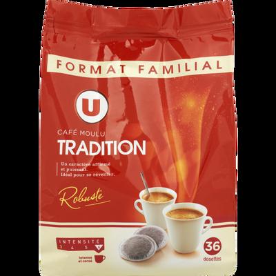 Café moulu tradition U, 36 dosettes souples soit 250g