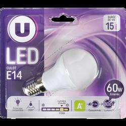Ampoule LED mini ronde U, 60W, blanc chaud, culot E14, verre givré