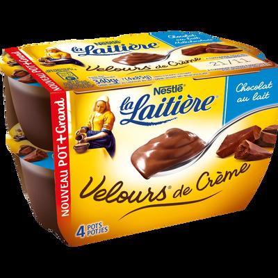 Crème dessert chocolat au lait Velours de crème LA LAITIERE, 4 unitésde 85g
