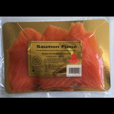 Saumon fumé de Norvège CLAUDE TRAITEUR, 6/8 tranches soit 300g