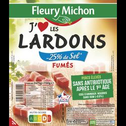 """Lardons fumés """"J'aime"""" taux de sel réduit FLEURY MICHON, 2x75g"""
