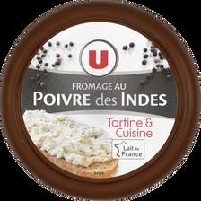 Fromage au poivre au lait pasteurisé U, 24% de MG, 150g
