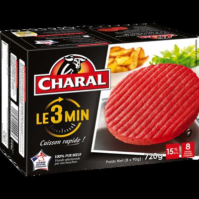 Steak haché 3 minutes 15% de MG CHARAL, 8x90g soit 720g