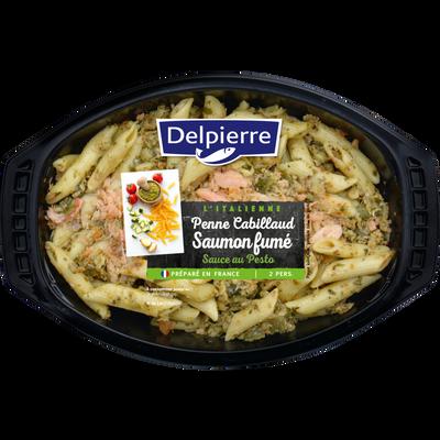 Penne cabillaud saumon fumé sauce pesto, DELPIERRE, transformé en France, 500g