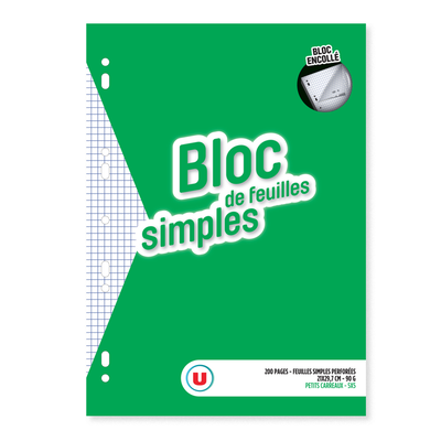 Bloc de feuilles simples détachables U 21x29,7cm, 5x5, 200 pages + 40gratuites