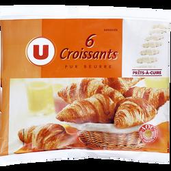 Croissants pur beurre U, 6 unités de 50g