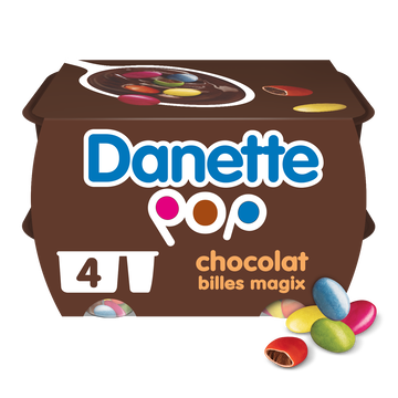 Danone Crème Dessert Chocolat Billes Magix Chocolat Danette, 4x120g