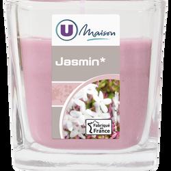Contenant carré U MAISON, en verre, avec bougie parfumée jasmin, rose