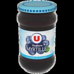 Confiture de myrtille allégée U, bocal en verre de 335g