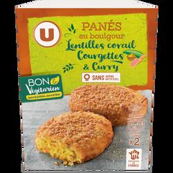 Panés céréales lentilles corail courgette curry U BON & VEGETARIEN, 2unités, 100g