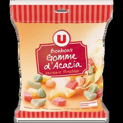 Bonbons gommes saveurs fruitées U, sachet de 300g