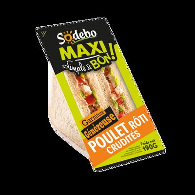 Sandwich maxi simple & bon, poulet rôti et crudités SODEBO, 190g