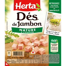 Dés de jambon HERTA, 2 paquets de 75g