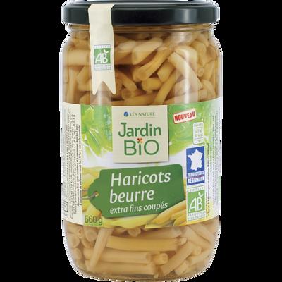 Haricots beurre extra fins coupés JARDIN BIO, bocal en verre de 660g
