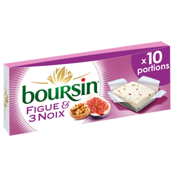 Fromage à tartiner BOURSIN Figue & 3 Noix 10 portions, 160g
