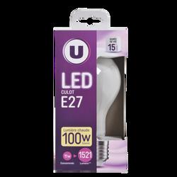 Led U, ronde, 100w, e7, opaque, lumière chaude