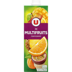 Jus à base de concentré multifruits U, brique 1l