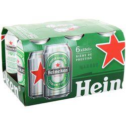 Bière blonde HEINEKEN, 5°, 6 canettes de 33cl