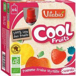 Compote Cool Fruits Pomme Fraise Myrtilles Bio Vitabio 4 gourdes 90g