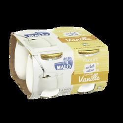 Yaourt au lait entier vanille MALO, 4 pots en verre de 125g