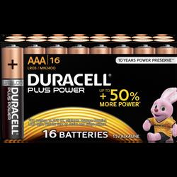 Piles Duracell +power, lr03/aaa, 16 unités