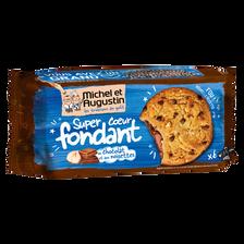 Cookies coeur fondant chocolat au lait et noisettes MICHEL ET AUGUSTIN, sachet de 180g