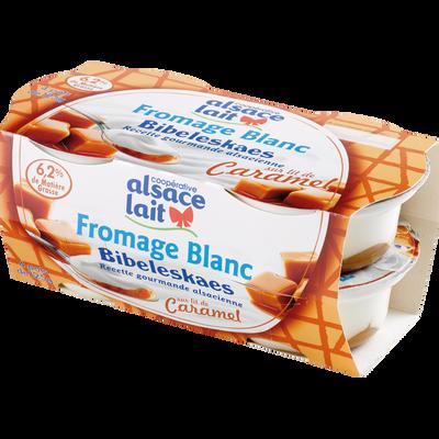 Fromage blanc Bibeleskaes sur lit de caramel ALSACE LAIT, 4x125g